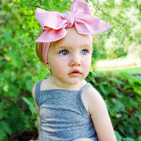Wholesale Big Pink Hair Bow Headband - Wholesale- Fashion Baby Girls Headwraps Top Knot Solid color big Bow Headband Children Infants DIY Headwear Turban Girl Hair Accessories