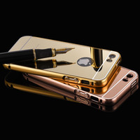 Wholesale Iphone 5s Aluminum Bumper Cases - Wholesale-For iphone 5 Case Mirror Bumper Aluminum Luxury Case For Apple iphone 5 5S Ultra Thin Gold Plated Metal Frame Hard Back Cover