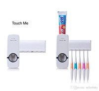 Wholesale Toothbrush Automatic Toothpaste - Automatic Toothpaste Dispenser Squeezer Toothbrush Holder Auto Set Wall Mount Stickers White Red Home Bathroom Household