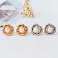 Wholesale cuff earrings women - New fashion pattern romantic women pearl ear clip electroplating gold and silver wedding gift jewelry earring