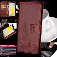 Wholesale Leather Case Xperia C - Four Leaf Clover Style Wallet Card Slots Flip Leather Cover Case For HTC U Play 10 Pro Bolt C Ban U11 Sony Xperia XZ Premium XA1 Ultra