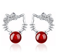 Wholesale Red Agate Earrings - Silver Cat Stud Earrings Austrian Crystal Halo Cat For Women Agate Stud Earrings For Wedding Ladies Bohemian 925 Sterling Silver Jewelry