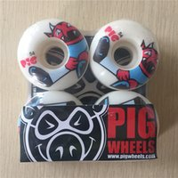 Wholesale Pig Skateboard Wheels - Wholesale-New arrived Free shipping PIG Skateboard Wheels PU Skate Wheels White 101A 54mm Wheels SKateboard Rodas De Skate