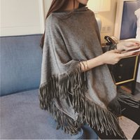 Wholesale Triangle Tassel Shawls - Womens Autumn Cape Ladies Batwing Sweater Poncho Triangle Turtleneck Pullovers Tassel Knitted Shawl Pull Femme Sweter