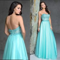 Wholesale Aqua Formal Evening Dress - Stunning 2016 Aqua Blue Prom Dress Long Formal Strapless Evening Gown Sweetheart Neck Beaded Sequins Lace Appliques Bodice Sexy Low Back