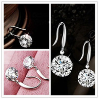 Wholesale Earrings Event - New Shinning Crystal Bridal Jewelry Gorgeous Sparkling 925 Silver Wedding Eardrop Prom Party Event Earbob Evenning Accessories Earrings