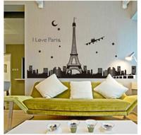 Blackboard Sticker PVC Famous Landmark Bedroom Home Television Wall Art  Decorations Wallpaper New Creative Paris Eiffel