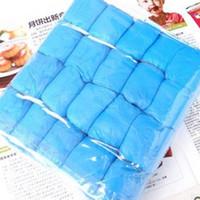 Wholesale plastic shoe rain covers - 100Pcs Disposable Green Plastic No Odor Rain Waterproof Shoe Covers Blue E00008 SMAD