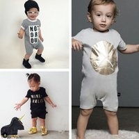 Wholesale Toddler Tight Shorts - 2016 New INS Baby romper suit Cotton short sleeve letter Printing rompers boys girls costumes Toddlers bodysuits tights sets
