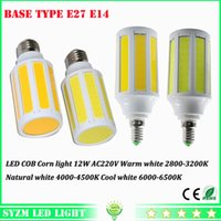 Wholesale E27 Led Corn Natural White - E27 E14 12W cob corn lamp Energy Saving 220V 360 Degree Spot Light LED cob bulb warm white natural white cool white spotlight