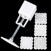 Wholesale Cake Mold Fondant Decorating - New Arrive 4 Patterns Square Moon cake Fondant Sugarcraft Decorating Cookies Mold Mould Baking Tool Set