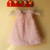 robes de baptême mignonnes achat en gros de-0-2A nouveau-né robe robe de bebe robe pour bébé fille princesse dentelle robe rose dentelle robe rose fleur robe baptême robe fête anniversaire bateau gratuit