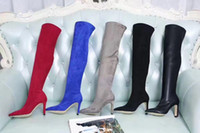 Wholesale thigh high cloth boots - high quality~u757 40 genuine leather matte stretch thigh high over the knees boots sexy winter j luxury designer 8.5cm