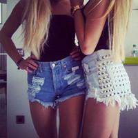 Wholesale High Waisted Short Jeans Women - Summer style 2015 new fashion women sexy denim shorts Vintage Rivet High Waisted Short Jeans plus size
