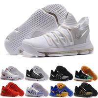 Wholesale Kd Size 12 Men - 2017 New Arrival Kd 10 x Men's Shoe Oreo Still Zoom Kd10 Anniversary Black Green White Chrome Pure Platinum Men Basketball Shoes Size 7-12