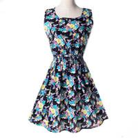 Wholesale Casual Chiffon Navy Dress - Wholesale-Summer Style Dress Women Dresses Floral Printed Pattern Chiffon Sleeveless Plus Size XXL Navy Blue Yellow Pink Flower FGD001#23