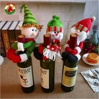 Wholesale Cloth Wine Bottle Covers - Fashion Cute Red Wine Bottle Holder Christmas Decorations Gift Party Best Gift for Xmas Bar Red Wine Bottle Cover Plush Toys Free shipping
