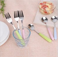 Wholesale hot sale spoong fork set Baby kids Dinnerware flatware Sets Baby Tableware suit stainless steel spoon and fork spoon fork folding protection