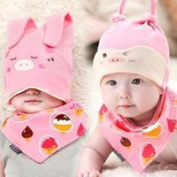 Wholesale Girl Korean Winter Hat - Baby Infant Winter warm Hat and Scarf Set Korean baby hat newborn sleeping cap cotton sleeve head cap baby cap bandage two sets