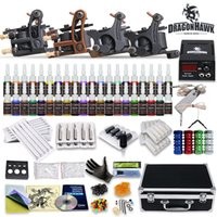 Wholesale Complete Tattoo Guns - Tattoo Kit 4 Top Machine Gun 40 Color Ink Power Supply Needle Complete D139GD-11