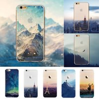 silicone do iphone 4,7 venda por atacado-Atacado-volta cobre ultra fino silicone macio montanha paisagem case capa para iphone 6 4.7 '' tampa traseira transparente para telefone