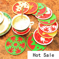 Wholesale table mats decoration - New Christmas decorations west glass table mat Coffee cup mat disc pad insulation pad Christmas gifts B0757