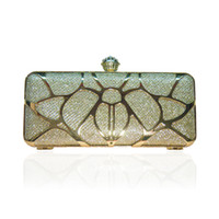 Wholesale clutch purse bag frames clasps for sale - Group buy Mini Metal Frame Artificial Silk Beetle Design Hollow Out Metallic Evening Bag Encrusted Clutch Purse with Diamond Clasp KSP