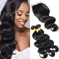 Wholesale Double Drawn Body Wave - Indian Body Waves Lace Closure With 3 Bundle Double Drawn Weaves Cheap Hair Extensions Natural Black Wet Wavy Human Hair