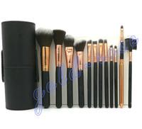 Wholesale Professional Makeup Brushes Black - HOT Makeup Brush 12 pieces Professional Makeup Brush set Kit DHL Free shipping+GIFT