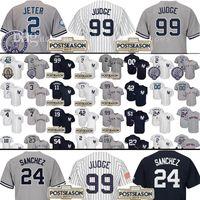Wholesale Green New York Jersey - 2017 Postseason 99 Aaron Judge 2 Derek Jeter Baseball Jersey Men's New York Yankees 24 Gary Sanchez Jerseys Stars and stripes