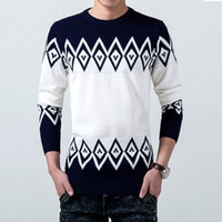 Wholesale Polo Neck Dress - Wholesale-Autumn Sweater Men Pullover Brand Polo Men Sweater Clothing Knitwear Jumper Wool acrylic Winter Dress Thick Shirt O-neck