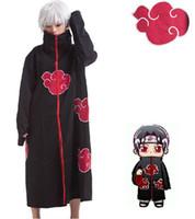 naruto cosplay toptan satış-Toptan-Naruto Akatsuki Cloak Cosplay Kostüm Orochimaru Itachi Uchiha Madara Sasuke Pein Robe Kostümleri XS-XXL