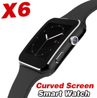 Wholesale Shell Smart Phone - X6 smart watch Curved screen zinc titanium alloy smart wear metal shell gift Bluetooth mobile phone business waterproof watch DZ09 A1 GT08