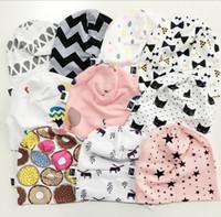 bebek beanies desenleri toptan satış-Bebek INS Erkek Kız Beanie Şapka Yürüyor bebek Yenidoğan Geometrik Desen Rahat Şapka Kap Hastane Kap Bahar Sıcak Pamuk Kaput Kap