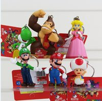 Wholesale Mario Accessories Wholesale - Super Mario Bros Action Figure keychain with tag 6pcs set 4-7cm 3inch Super mario Keychains Free Shipping
