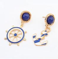 ancla de oro 18k al por mayor-Pendientes de diseño de ancla asimétrica europea Moda de mujer Pendiente de epoxi azul 18K Pendiente de chapado en oro 10PRS