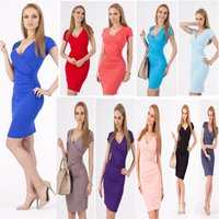 Wholesale career dresses sleeves - Career Apparel dress Women short Sleeve V-Neck Business dresses Party Vestidos Pencil Sheath Dress 1pcs free shipping
