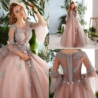 Wholesale palace crystals - Vintage Palace Princess Pink Prom Dresses Lace Applique Handmade Flowers Illusion Long Sleeve Evening Gowns Lace Up Back Pageant Party Dres