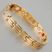 Wholesale Tourmaline Power Bracelet - Wollet Jewelry 21cm 9mm magnet infrared ray negative ion Ge power tourmaline men women titanium bracelet