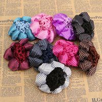 Wholesale Headbands Hair Nets - Brand New Pack of 8 Girl Women Bun Cover Snood Ballet Dance Polka Dot Hair Net hair Accessories Free Shipping