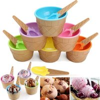 Wholesale ice dessert - Plastic Ice Cream Bowls with Spoons Kids Cute Durable Dessert Cup Ice cream Cup 6 Colors OOA2433