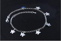 ingrosso braccialetti della farfalla delle donne-Ciondoli in argento sterling 925 cavigliette da donna lavorati a mano con cinturini alla caviglia per bracciali