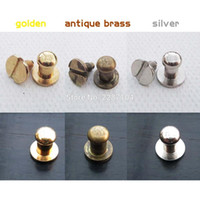Wholesale Drawer Chest Cabinets - Wholesale- 12pcs Mini Pure Copper Round head Screwback Screw Back Jewelry Chest Box Cabinet Furniture Drawer Dollhouse Door Pull Knob 5mm