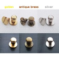 Compra Manopole Rotonde-Wholesale- 12pcs Mini Pure Copper Testa rotonda Screwback Vite Indietro Gioielli Cassetto Cassetto Mobili Cassetto Dollhouse Door Pull Manopola 5mm