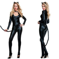 Wholesale Women S Lingerie For Men - Wholesale-2016 Halloween Cat Costumes For Women With Tail Sexy Wetlook Womens Rompers Jumpsuit Black Catsuit Vinly Leather Lingerie