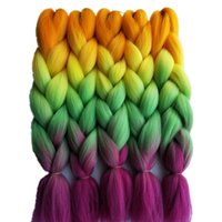 Synthétique Jumbo Braids Hair Bulk Crochet Extensions 24inch 5pcs / lot 100g / pack Orange Light Yellow Green Pink 4Tone Ombre Braiding Hair