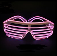 Wholesale Light Up Party Shades - Pink Quick Flashing EL Luminous LED Shutter Glasses Light Up Shades Flashing Rave for Wedding Party Dance DJ Party Mask YH135