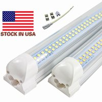 Wholesale Row Cree - Stock In US + 8ft led t8 4ft tube lights double rows smd2835 led tubes 72w integrated 2.4m led Fluorescent lamps AC 85-265V