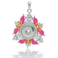 Wholesale Bouquet Earrings - Crystal square flower bouquet snap button chunks pendant DIY nossa jewelry fit women girl noosa necklaces earrings bracelets finding 270090