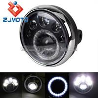 "Wholesale Motorcycle Universal Vision Headlight - ZJMOTO Custom 7"" Round Motorcycle LED Headlight E-mark 12V LED Motorcycle Head lights Vision Lamp Headlamp For Chopper Bobber"